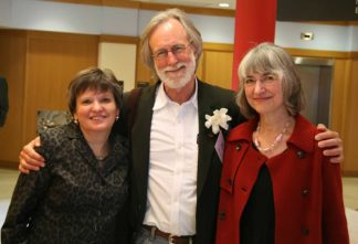Former Dean of Libraries Wendy Lougee, Jim Lenfestey, and Marcia Pankake at the first 2010 Pankake Poetry Series event.