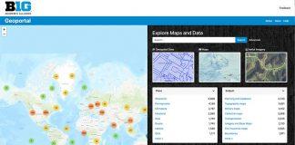 Screen shot of Big 10 Geo Portal's website, includes a global map.