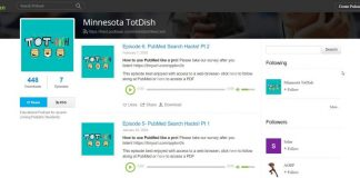 Screenshot of the Minnesota TotDish podcast on PodBean, featuring the episodes Caitlin Bakker worked on (Episodes 5 and 6)