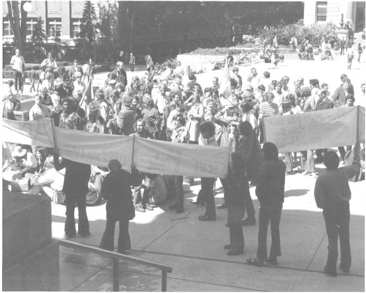 Students participate in an anti-war rally on campus. Bill Tilton papers, University Archives, University of Minnesota, Twin Cities.
