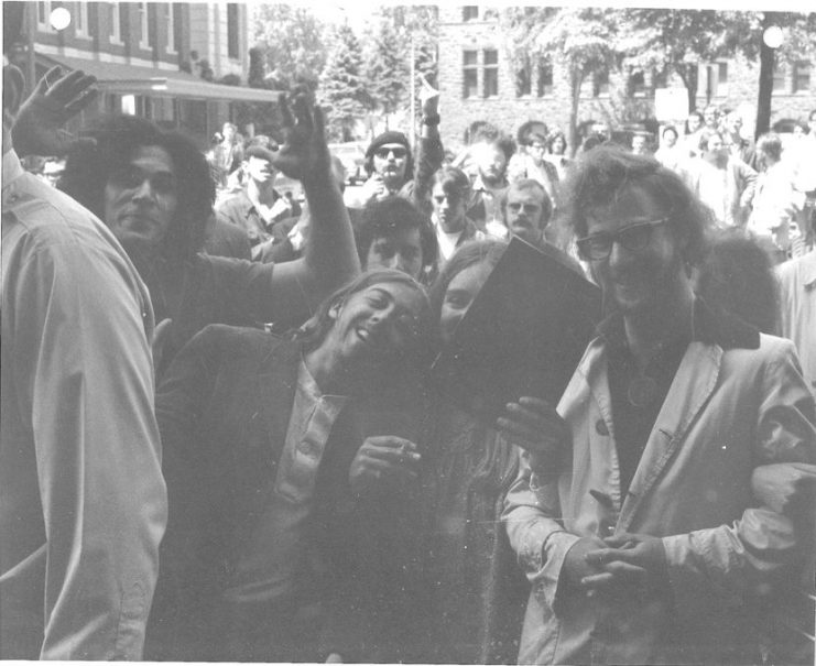 Students linking arms during a rally in May of 1970. Bill Tilton papers, University Archives, University of Minnesota, Twin Cities.