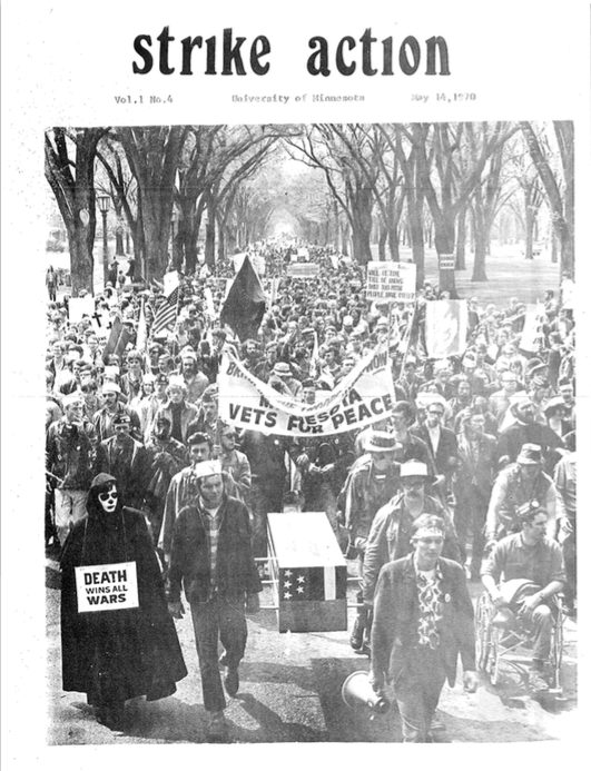 A cover of the strike movement newsletter, Strike Action, which illustrates the rally of demonstrators in May of 1970. Bill Tilton papers, University Archives, University of Minnesota, Twin Cities.
