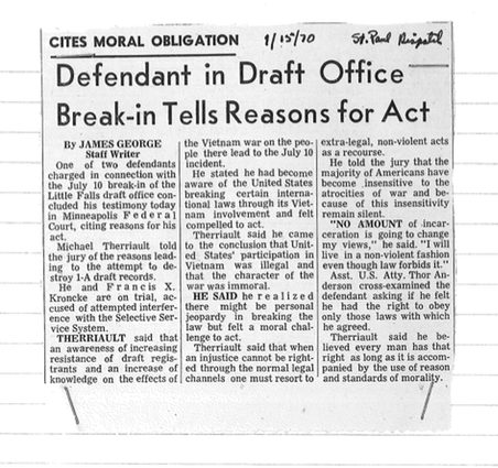 A misdated news article from the St. Paul Dispatch on the trial of two members of the Minnesota 8. The trial took place in January 1971. Bill Tilton papers, University Archives, University of Minnesota, Twin Cities.