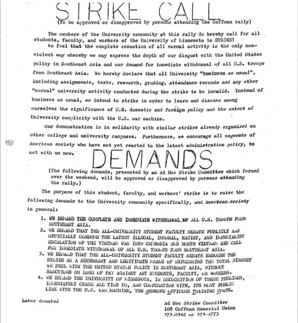 "The ""Strike Call"" flier announcing the student strike beginning and the demands of the strike. Bill Tilton papers, University Archives, University of Minnesota, Twin Cities."
