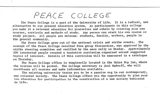 """Peace College"" flier. Bill Tilton papers, University Archives, University of Minnesota, Twin Cities."