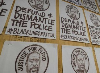 George Floyd, defund the police, black lives matter posters