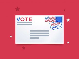 Envelope with Vote by mail on text