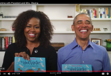 Screenshot of Michele and Barak Obama smiling and holding the book Word Collector