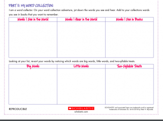 A grid of boxes on an activity sheet. Headings: Words I see in the World, Words I hear in the world, Big Words, Little Words