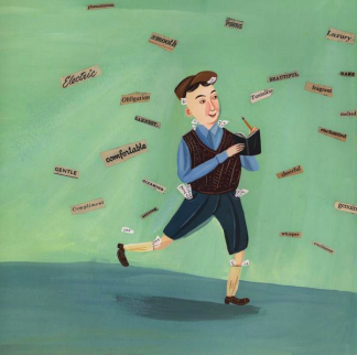 A painting of white boy in short pants and a cap walking and writing as words cascade around him