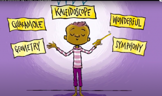 Jerome, a Black child in center of the page is conducting floating words like kaleidoscope and Wonder.