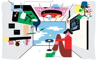 Decorative illustration from Medium Article on Surge Capacity. human figure sitting in an upside down room
