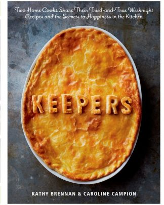 Book Cover is a photograph. The title Keepers is formed by the shaping of a pot pie dough lid.