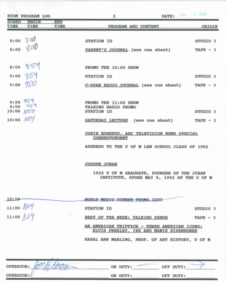 Typed program log dated July 4, 1992 listing air start and stop times on the left-hand side and program content in the center.