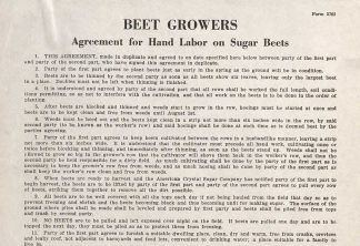 Beet Growers: Agreement for hand labor on sugar beets