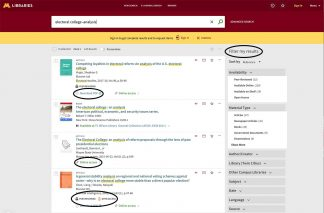 Search result on University of Minnesota Libraries website