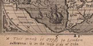 Handwritten note, marking the antipode of London on a map of the Americas, ca. 1603.