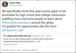 """Lauren Eales described their desire to publish OA: """"to be accessible for high school and college classrooms- enabling more and more people to learn about #RemoteAcculturation around the globe."""""""