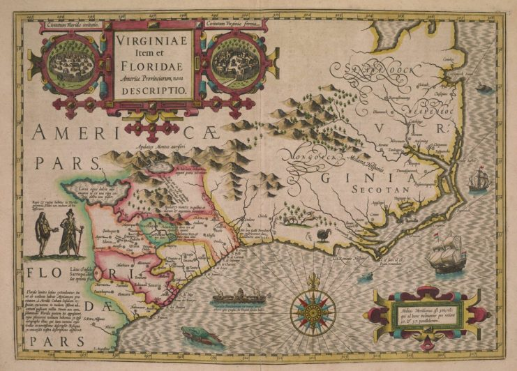 16th-century map of the southeastern part of North America.