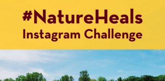 NatureHeals Instagram Challenge text with photo of blue sky and a field