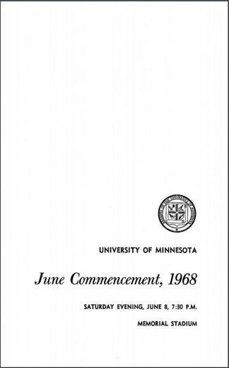 Cover of the June 1968 commencement program.