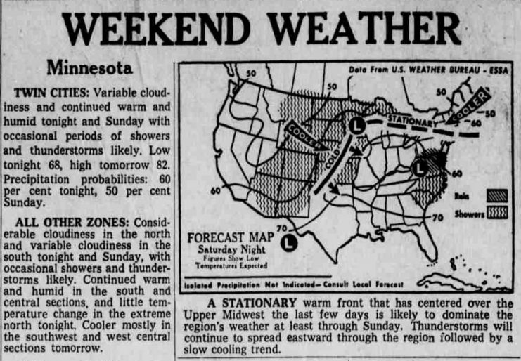 Weather map published in the morning edition of the Minneapolis Star, June 8, 1968. Chance of showers and thunderstorms is 60%.