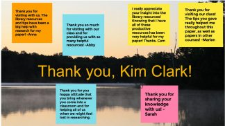 Image of a lake with six digital sticky notes overlaid. The notes are from students thanking Kim Clarke for visiting their class and providing helpful resources for research papers.
