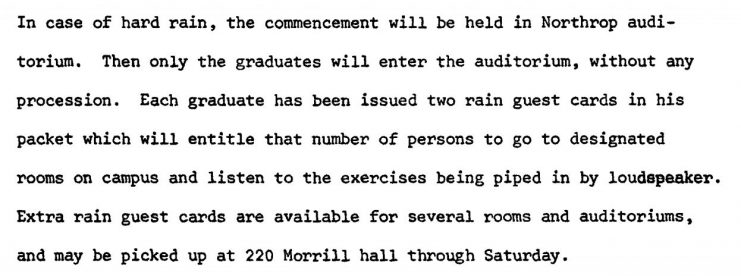 Text of the June 4, 1968 press release informing attendees that in the event of rain, the ceremony will be held in Northrop Memorial Auditorium.