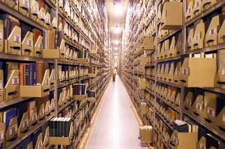 Books in the caverns beneath Andersen Library