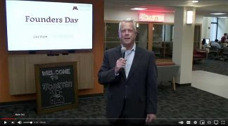 """John Stavig, """"live"""" from the Toaster during Founders Day on May 19."""