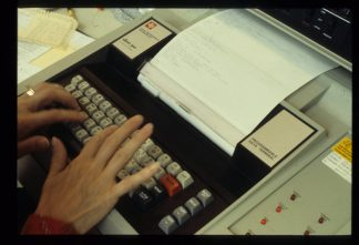Teletype machines were used to send interlibrary loan requests back and forth between Minitex and participating libraries.