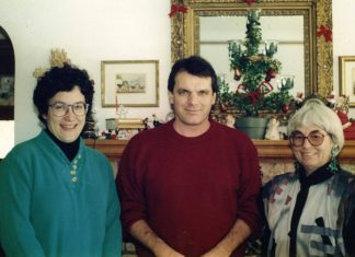 From left: Kathy Drozd (Minitex Delivery), Dave Paulson (Minitex Resource Sharing), and Alice Wilcox (Minitex Director, 1969-1983).