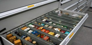 drawer filled with small artifacts from the Wangensteen Library collection