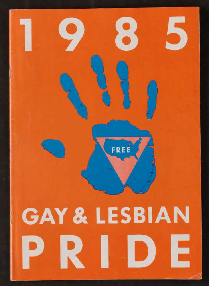 A striking cover image for the 40-page Pride guide for 1985.