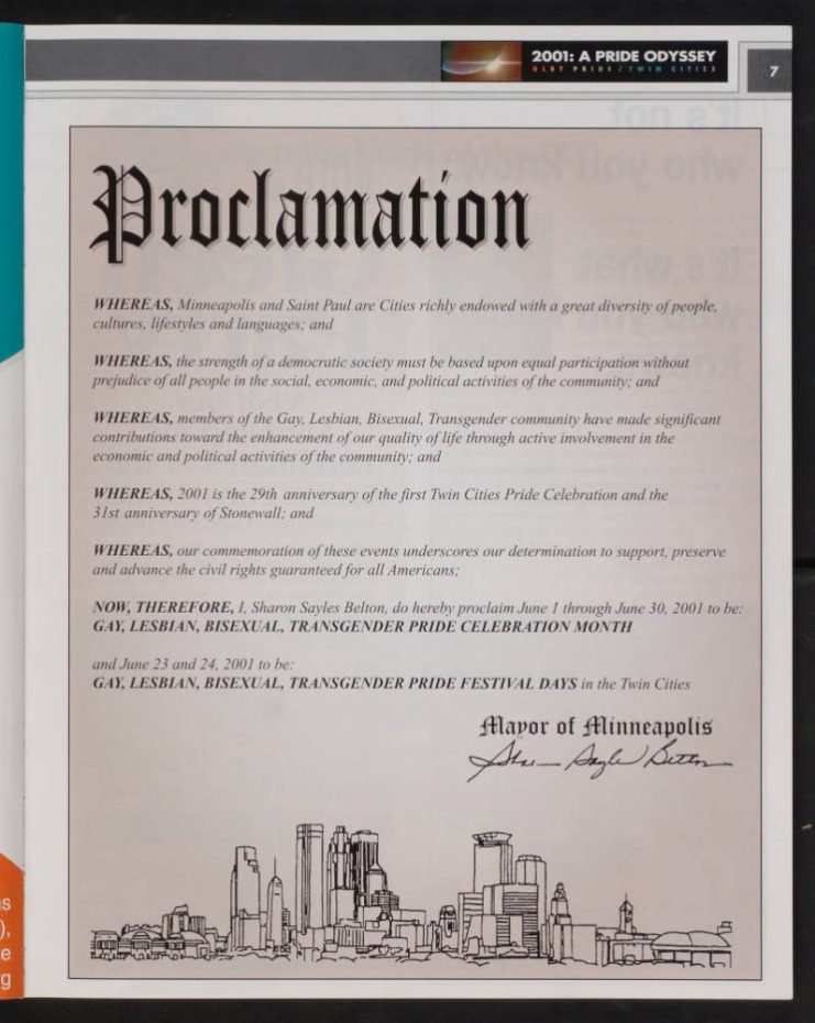 The 2001 program includes then-Minneapolis Mayor Sharon Sayles Belton's official proclamation of Pride month and Pride Festival days.