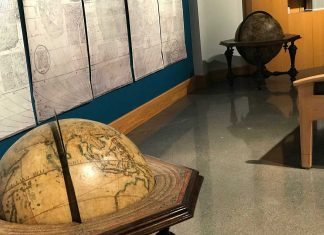 Terrestrial and celestial globes created in 1696 and now part of the James Ford Bell Library collection.