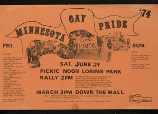 When this poster was created for the 1974 Pride weekend, some details — a women's dance, a possible church service, and a softball game — were not yet decided.
