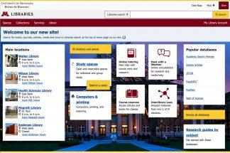 Home page screen shot lib.umn.edu