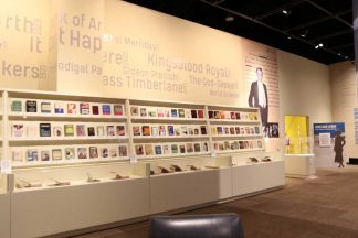 Wall of Books at Sinclair Lewis exhibit at the Minnesota History Center