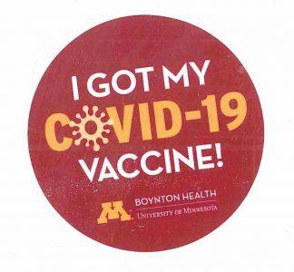 Vaccine Sticker from Boynton Health during COVID-19