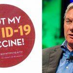 Boynton Health COVID-19 vaccine sticker and Michael T. Osterholm