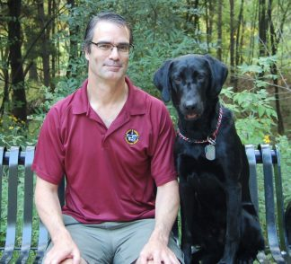 André Nault with Pogo the dog