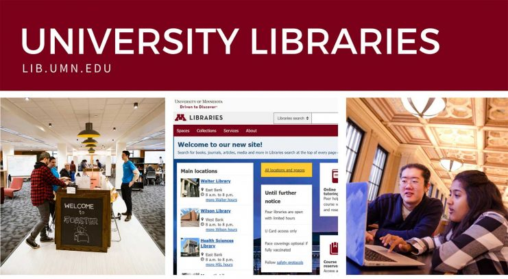 Students in the Toaster Innovation Hub. Screenshot of the Libraries website. Two students working at a laptop computer in Walter Library.