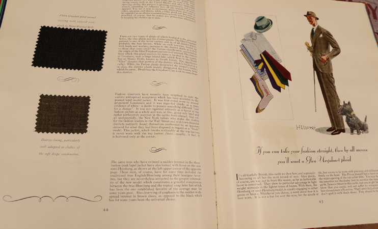 Gentleman's Quarterly: a spread from the 1920s that includes fabric swatches.