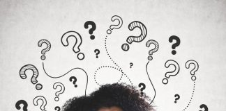 Women with question marks drawn around head