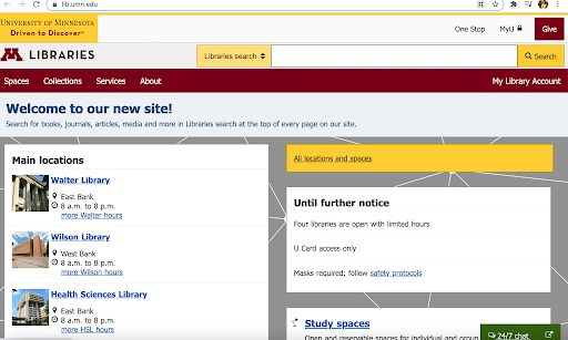UMN Libraries Home Page